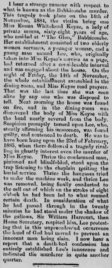 Deathbed confession 02 - Northern Echo - Thursday 21 February 1889